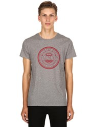 Balmain Logo Crest Printed Cotton Jersey T Shirt Grey