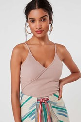 Urban Outfitters Uo Elena Surplice Tank Top Rose