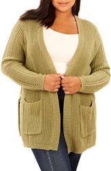 Rebel Wilson X Angels Plus Size Women's Split Side Ring Link Cardigan Oil Green