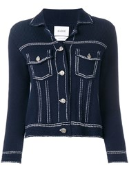 Barrie Denim Style Knitted Cardigan Blue