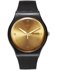 Swatch Unisex Swiss Golden Friend Beige And Black Double Layer Silicone Strap Watch 41Mm Suob716