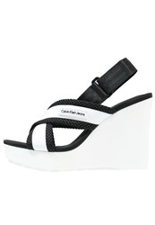 Calvin Klein Jeans Lizzie High Heeled Sandals White Black