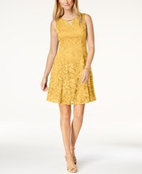 Jm Collection Petite Lace A Line Dress Fresh Yellow