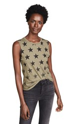 Chrldr Faded Stars Muscle Tee Olive