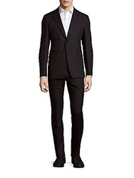 Valentino Woolen Striped Suit Black