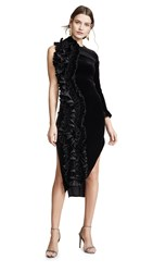 Awake A.W.A.K.E. Asymmetric Ruffle Dress Black