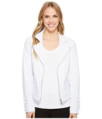 Tribal Stretch Bengaline Long Sleeve Jacket With Lace Up Detail White Coat