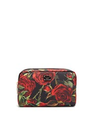 Dolce And Gabbana Roses Print Fabric Washbag Black Red