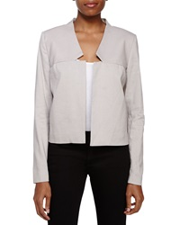 Halston Heritage Cropped Open Front Jacket Flint