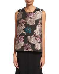 Co Floral Brocade Trapeze Sleeveless Blouse Multi Multi Colors