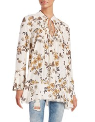 Free People Floral Tunic Blouse White