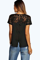 Boohoo Lace Yoke Bow Back Woven Shell Top Black