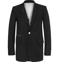 Takahiromiyashita Thesoloist. Black Frayed Cotton Blazer Black