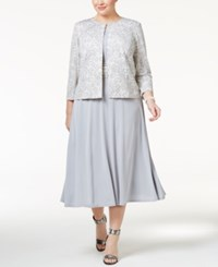 Jessica Howard Plus Size Midi Dress And Lace Print Jacket Grey Combo