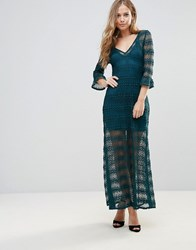 Wyldr Light Music Knitted Lace Maxi Dress With Seperate Slip Green