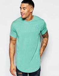 Sik Silk Siksilk Longline T Shirt With Curved Hem And Burnout Teal Blue