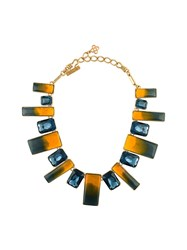 Oscar De La Renta Jewel Stone Necklace Yellow And Orange