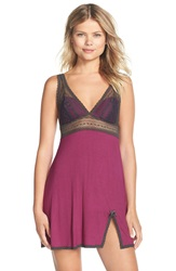 Fleur T With Me Fleur't With Me 'First Crush' Lace Inset Chemise Plum Red Dark Charcoal
