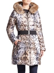 Dawn Levy Toya Leopard Print Fur Trimmed Puffer Natural