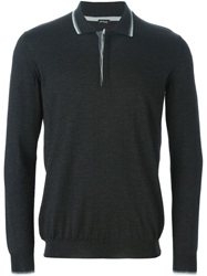 Kiton Long Sleeve Polo Shirt Black