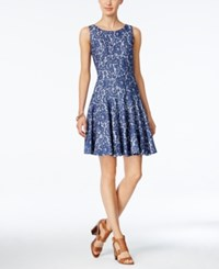Tommy Hilfiger Denim Lace Fit And Flare Dress Blue