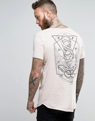 Asos Longline T Shirt With Mystical Back Print And Raw Scoop Neck And Hem Vintage Lace Pink