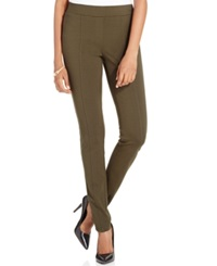 Style And Co. Stretch Seam Front Ponte Leggings Only At Macy's Evening Olive