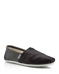 Toms Coated Canvas And Faux Fur Slip On Sneakers Black