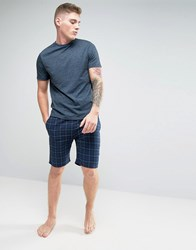 New Look Pyjama Set With Check Shorts In Navy Blue Pattern