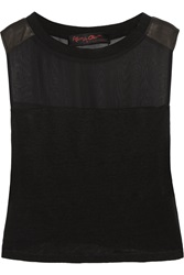 Alice Olivia Leather Trimmed Chiffon And Linen Tank Black