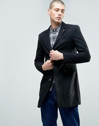 Farah Long Wool Blend Buttoned Jacket Black Grey