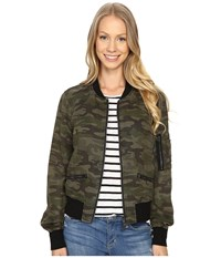 Sanctuary New Shrunken Bomber Jacket Mother Nature Camo Women's Coat Green