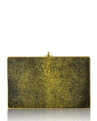 Judith Leiber Couture Stingray Ridged Rectangle Clutch Silver