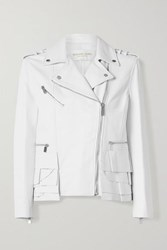 Michael Kors Collection Ruffled Leather Biker Jacket White