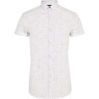 River Island White Polka Dot Short Sleeve Slim Fit Shirt