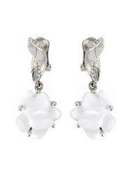 Oscar De La Renta Flower Earrings White