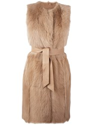 Drome Sleeveless Belted Mid Length Coat Nude And Neutrals