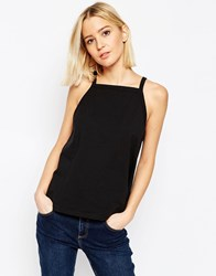 Asos Vest In Swing Shape With Square Neck Black
