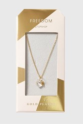 Topshop Gold Plated Heart And Star Necklace Clear
