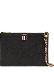Thom Browne Small Grained Leather Zip Clutch Black