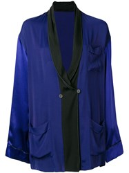 Haider Ackermann Oversized Shawl Lapel Blazer Blue