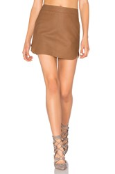 Karina Grimaldi Jacob Leather Skirt Brown