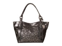 Frye Deborah Shoulder Charcoal Metallic Vintage Leather Shoulder Handbags Black