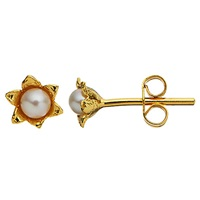 Alex Monroe Lily Of The Valley Freshwater Pearl Cup Stud Earrings Gold