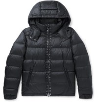 Valentino Rockstud Quilted Shell Hooded Down Jacket Midnight Blue