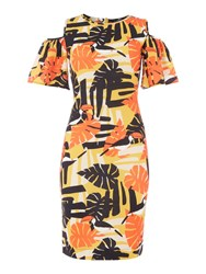 Therapy Kiki Cold Shoulder Toucan Print Dress Orange