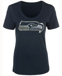 47 Brand '47 Women's Seattle Seahawks Lux Sequins Scoop T Shirt Navy