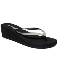Reef Krystal Star Wedge Thong Sandals Women's Shoes Black