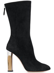 Alexander Mcqueen Sculpted Heel Fitted Boots Leather Velvet 38.5 Black