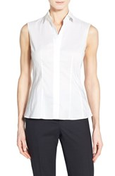 Women's Boss 'Bashiva' Sleeveless Poplin Shirt White